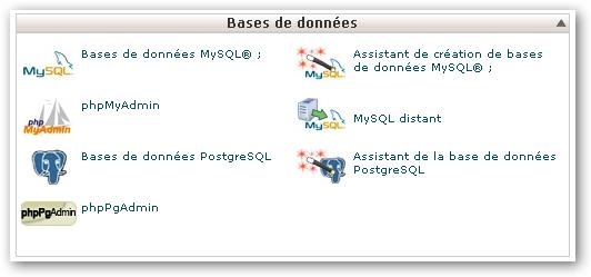 panneau de configuration MySQL